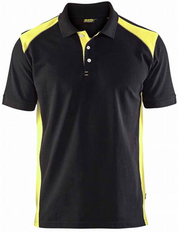 Blaklader 3324 Pique 2 Colour Polo Shirt (Black/Vis Yellow)